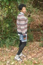 Silver-boots-sweater-leggings-button-down-shirt
