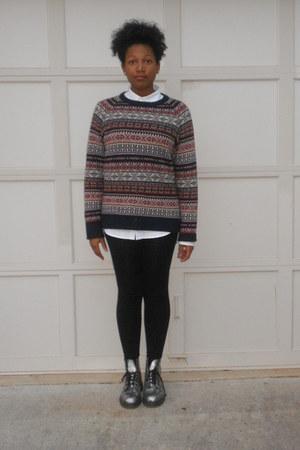 silver boots - sweater - leggings - button down shirt