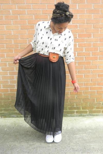 black maxi skirt - white shirt - navy silk scarf - tawny fanny pack bag