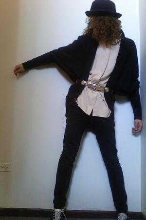 blouse - cardigan - belt - pants - shoes - hat