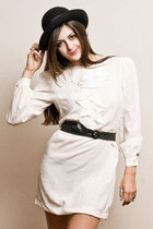 white dress - black belt - black hat