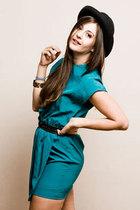 green dress - black hat - black belt
