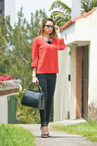 red MNG sweater - black MNG jeans - black MNG bag - dark gray ray-ban glasses