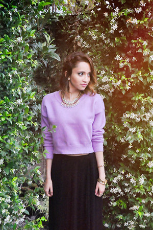 light purple lilac crop top Sheinside sweater - black maxi skirt talbots skirt