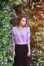 Light-purple-lilac-crop-top-sheinside-sweater-black-maxi-skirt-talbots-skirt