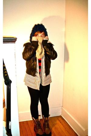 brown xhilaration jacket - white Cotton Emporium cardigan - red Gap shirt - blac