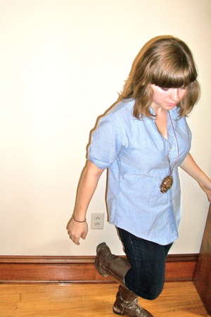 Brooks Brothers shirt - Topshop necklace - Gap jeans - Marc Alpert boots