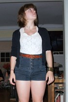 vintage blouse - forever 21 shorts - unknown brand belt - Gap sweater - Urban Ou