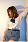 White-j-crew-shirt-gray-silence-noise-shorts-black-thrifted-belt-blue-vi
