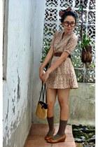 tan floral dress - traditional bag - light brown socks - ruby red leather belt