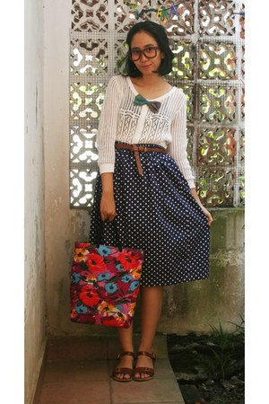 navy polka dots skirt - mommys bag - batik ribbon tie