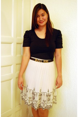 black sm dept store top - cream thrifted skirt - black Moschino belt
