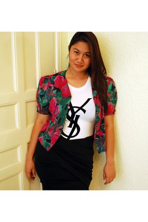 black Yanie Medina skirt - white YSL top - red floral blazer