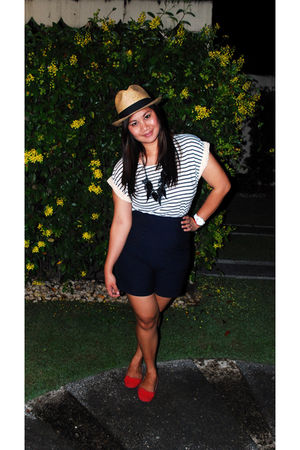 red new look shoes - blue juana high waisted shorts - white random blouse - brow
