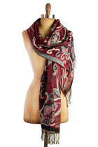 boho knit Red scarf