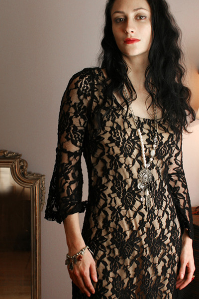black black lace Boho dress