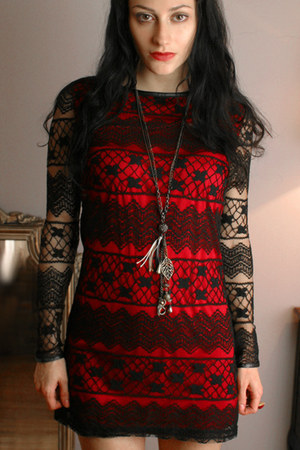 red black lace Red dress