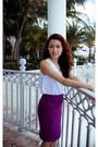 White-white-top-zara-shirt-deep-purple-purple-paisley-ann-taylor-skirt