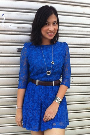 blue lace Topshop dress - dark brown leather Asprey belt