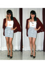 Maroon-blazer-white-cut-out-top-heather-gray-knotted-skirt