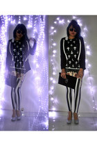 black blazer - striped leggings - cross top - silver glitter heels