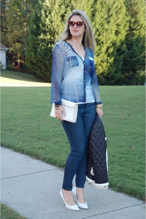navy coated jeans Guess jeans - white Aldo shoes - black Luisa Spagnoli jacket