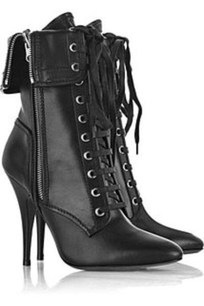 black balmainlaceupleatherbootsxla boots - black balmainlaceupleatherbootsxla bo