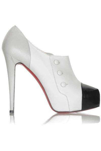 heather gray Christian Louboutin Emily ankle boots in tri-color shoes - white Ch