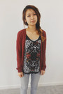 Dark-gray-zara-shirt-brick-red-h-m-cardigan-silver-sonoma-pants