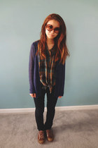 teal Hurley top - black sonoma pants - navy Uniqlo cardigan