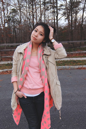 tan River Island jacket - pink Loft sweater - bubble gum Aeropostale scarf