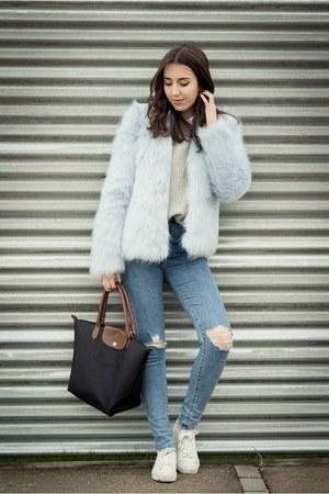 pull&bear coat - pull&bear jeans - longchamp bag