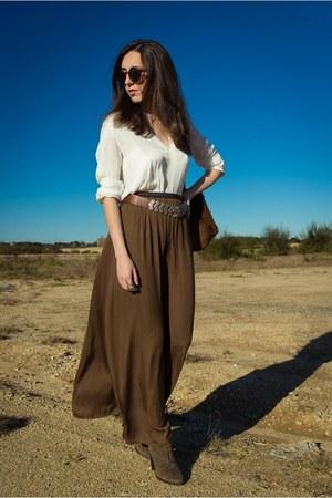 Zara skirt - Bimba & Lola boots - Zara blouse