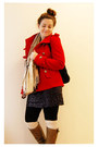 Red-forever-21-coat-black-thrifted-skirt-camel-gap-scarf-cream-h-m-socks-