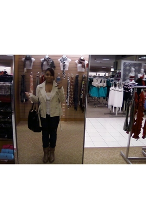 brown American Eagle shoes - Forever 21 blazer - Charlotte Russe shirt - XOXO pu