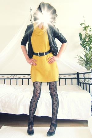 H &amp; M jacket - Orsay dress - vintage belt - vintage tights - deichman shoes