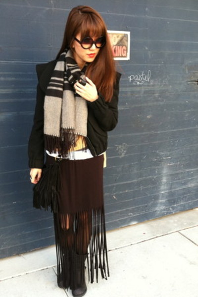 skirt - motorcycle boots - bcbg girls jacket - scarf - bag