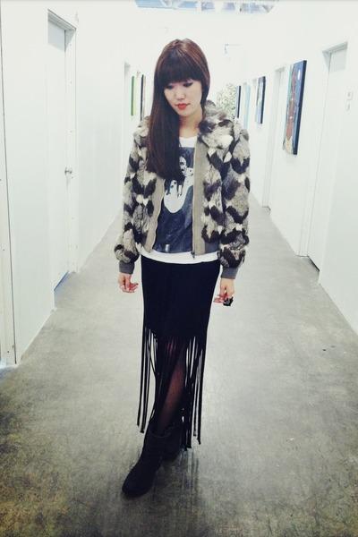rabbit fur jacket - motorcycle boots - lykke li shirt - tights - fringe skirt