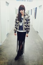 rabbit fur jacket - motorcycle boots - lykke li shirt - tights - fringe skirt