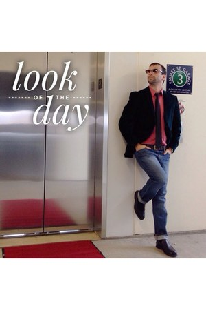 navy Old Navy jeans - dark green madison blazer - salmon calvin klein shirt