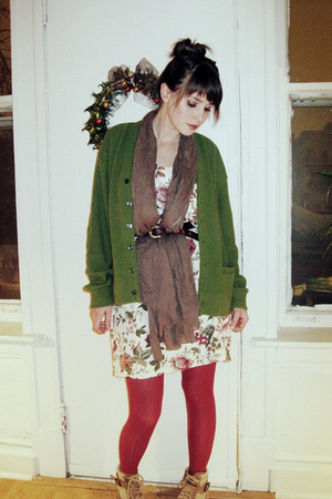 green cardigan - pink stockings - beige boots - white dress - gray scarf - brown