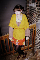 gold H&M sweater - brown H&M sweater - brown thrifted shoes - orange thrifted dr