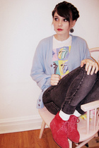 red thrifted shoes - gray Kill City jeans - blue thrifted sweater