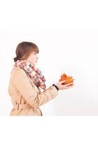 nude APC coat - carrot orange penelopes scarf