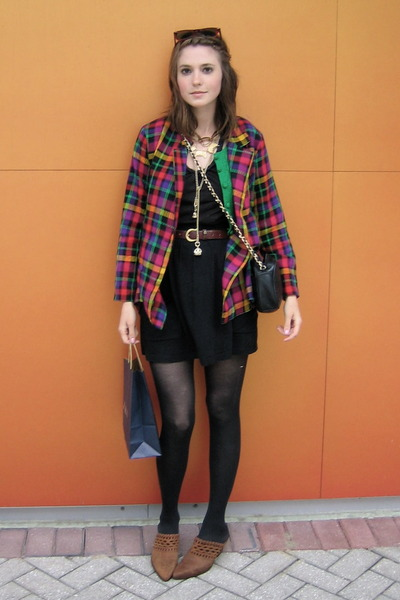 thrifted blazer - made by my momma sweater - thrifted belt - estate sale necklac