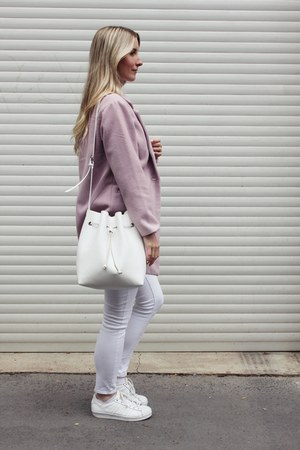 light pink Ann Christine coat - white Parfois bag