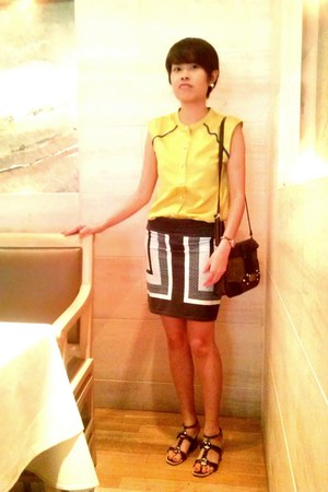 gold Chomel earrings - dark brown Charles & Keith bag - lime green bysi top