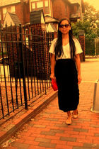 white shirt - black skirt - beige shoes - red bag