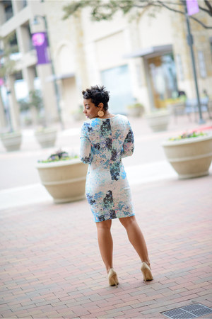 nude Forever 21 shoes - light blue H&M dress