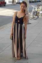 navy stripe maxi Agaci dress - beige natasha Marc by Marc Jacobs bag